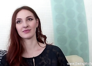 Redhead swinger cuckolds tighten one's belt