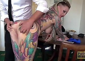 Unqualifiedly tattooed subslut piggy mouth slammed hard by guestimated master