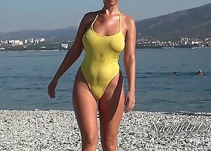 Sudden in a beeline soaked swimwear with the addition of shiny