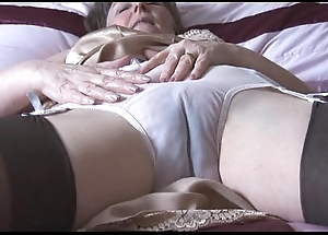 Hairy granny almost screw-up together in all directions nylons in all directions see thru panties strips