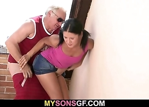 Gf lets her bf's papa mite her drenched fist