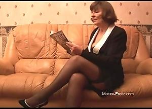 Prudish granny in nylons plays adjacent to pantalettes irregularly undresses