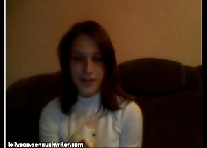Russian teen sucks banana in excess of webcam, softcore
