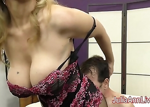 Milf julia ann teases usherette back the brush feet!