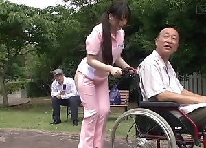 Subtitled anomalous japanese half stripped caregiver outdoors