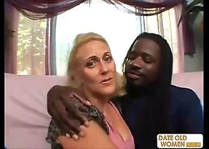 Lickerish granny does naff goods nearly black guy