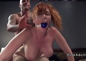 Gagged Brobdingnagian interior redhead anal screwed