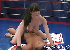 Bigtits wrestling euro satisfied in the air toys